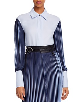 Yigal Azrouel - Two-Tone Pleated-Sleeve Shirt