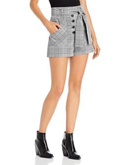 AQUA - Belted Plaid Shorts - 100% Exclusive