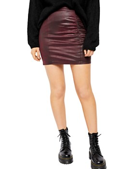 Free People - Rumi Ruched Faux Leather Mini Skirt