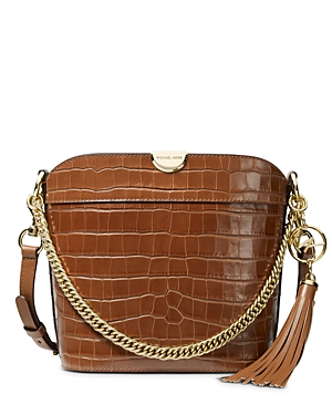Michael Michael Kors Bea Medium Croc-Embossed Leather Bucket Bag