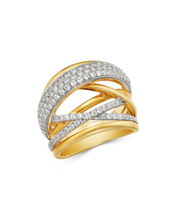 Bloomingdale's Pavé Diamond Crossover Ring in 14K White & Yellow Gold  - 100% Exclusive  | Bloomingdale's