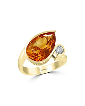 Bloomingdale's - Pear-Shaped Citrine & Diamond Ring in 14K Yellow Gold - 100% Exclusive