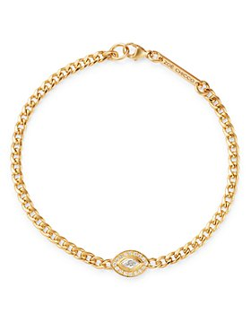 Zoë Chicco - 14K Yellow Gold Paris Diamond Evil Eye Halo Bracelet