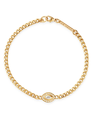 Zoe Chicco 14K Yellow Gold Paris Diamond Evil Eye Halo Bracelet-Jewelry & Accessories