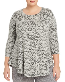 B Collection by Bobeau Curvy - Cozy Leopard-Print Babydoll Top