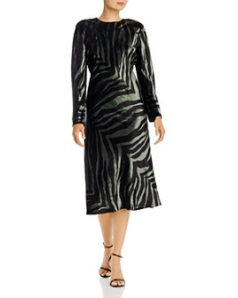 Michelle Mason -  Velvet Zebra-Print Midi Dress