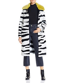 Nour Hammour - Savannah Zebra-Print Real Shearling Coat