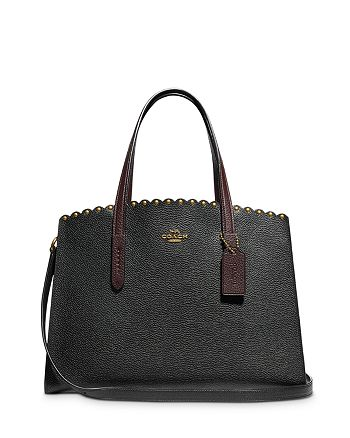 COACH - Charlie Scalloped Rivet Detail Large Pebbled Leather Carryall