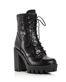 Giuseppe Zanotti - Women's Gintonic Snake-Embossed Combat Boots - 100% Exclusive