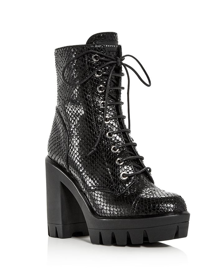 Giuseppe Zanotti - Women's Gintonic Snake-Embossed Combat Boots - 100% Exclusive