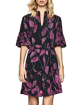 REISS - Marsali Belted Feather Print Dress