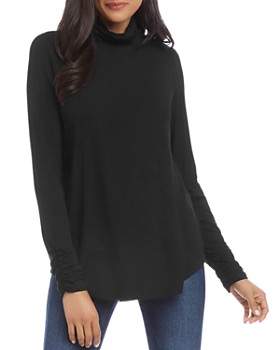 Karen Kane - Shirred-Sleeve Turtleneck Top