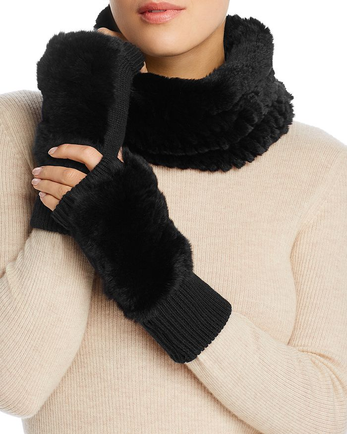 Jocelyn Accessories KNIT RABBIT FUR COWL & RABBIT-FUR TRIM FINGERLESS MITTENS