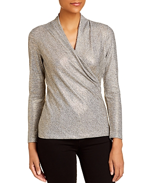 Donna Karan New York Metallic Crossover Top