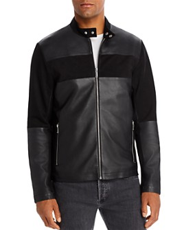 KARL LAGERFELD Paris - Leather & Suede Blocked Racer Jacket
