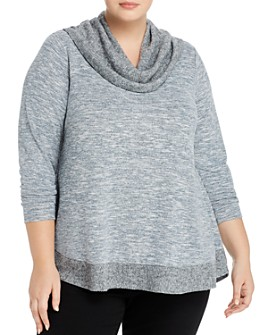 Cupio Plus - Mélange Cowl-Neck Sweater