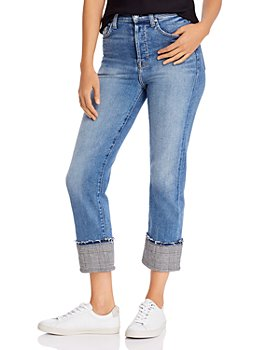 7 For All Mankind - Cuffed Plaid-Trim Jeans - 100% Exclusive