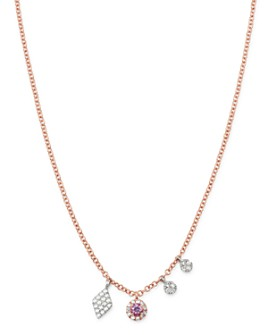 Meira T - 14K Rose & White Gold Pink Sapphire Necklace, 18""