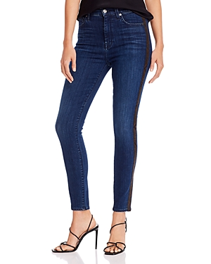 7 For All Mankind Ankle Skinny Jeans In Brown Snake Stripe