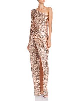 AQUA - One-Shoulder Sequin Gown - 100% Exclusive