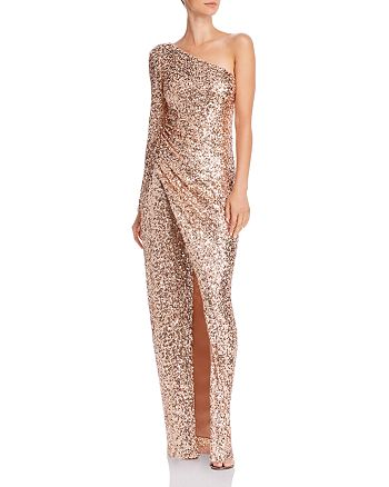 AQUA - One-Shoulder Sequin Gown - 100% Exclusive
