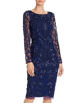 Adrianna Papell - Long Sleeve Beaded Cocktail Dress