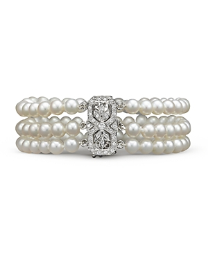 Cultured Freshwater Pearl Bracelet with Diamond Accents in 14K White Gold, 5.5mm