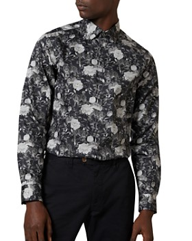Ted Baker - Stylo Monochromatic Floral Slim Fit Button-Down Shirt