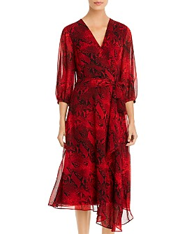 Calvin Klein - Snakeskin-Print Faux-Wrap Dress