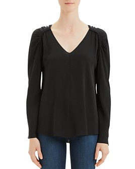 Theory - Silk Shirred Shoulder Top