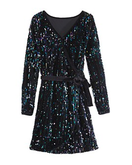 Habitual Kids - Girls' Raven Sequined Wrap Dress - Big Kid