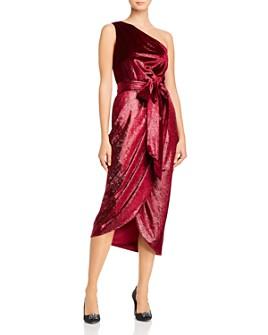Ted Baker - Abinaa One-Shoulder Draped Metallic Velvet Dress