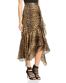 The Kooples - Silk Leopard Print Midi Skirt