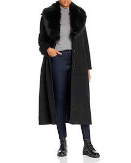Calvin Klein Plus - Long Belted Faux-Fur-Collar Coat