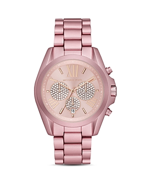 Michael Kors Bradshaw Pink Aluminum Link Bracelet Chronograph, 43mm