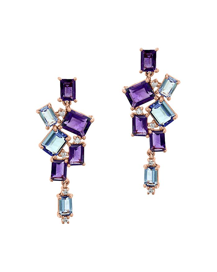 Bloomingdale's - Diamond, Amethyst & Tanzanite Drop Earrings in 14K Rose Gold - 100% Exclusive