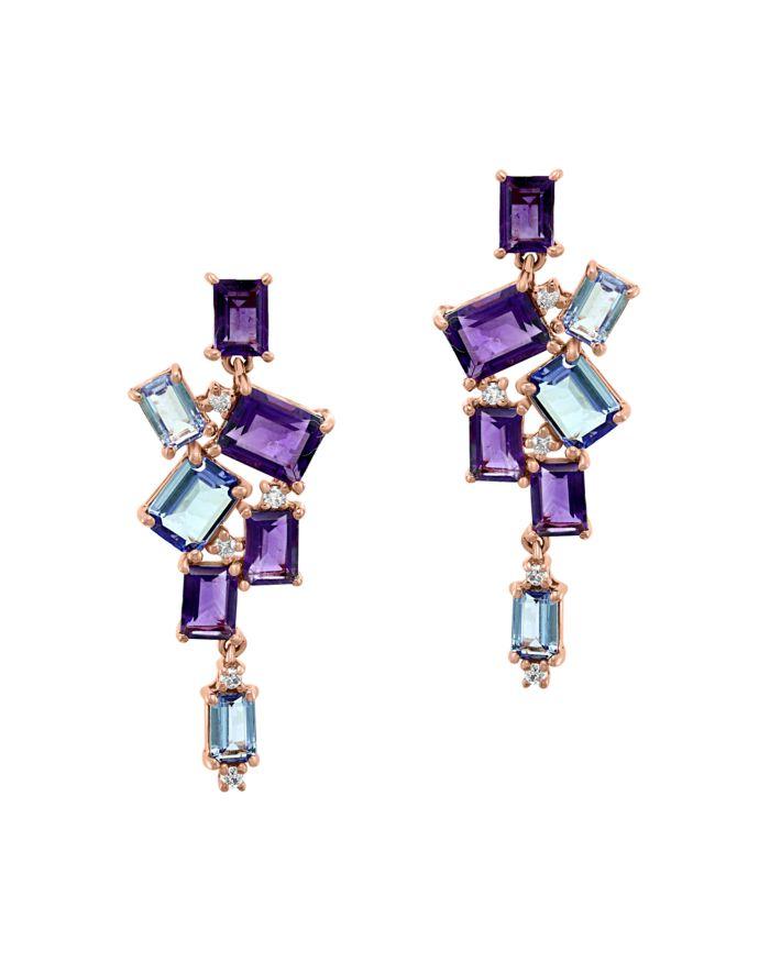 Bloomingdale's Diamond, Amethyst & Tanzanite Drop Earrings in 14K Rose Gold - 100% Exclusive  | Bloomingdale's