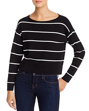 Eileen Fisher Sweaters CROPPED STRIPED BOAT-NECK SWEATER