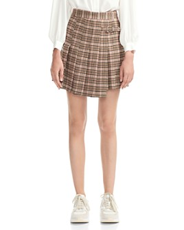 Maje - Jilo Asymmetric Pleated Plaid Skirt