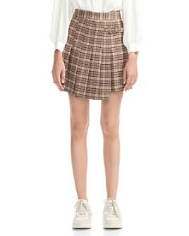 Maje - Jilo Asymmetric Pleated Plaid Skirt