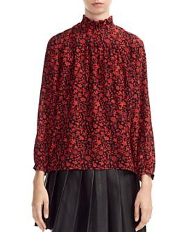 Maje - Lou Floral-Print Silk Top