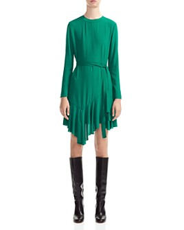 Maje - Romea Belted Ruffled Dress
