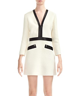 Maje - Remma Faux-Leather Trimmed Tweed Dress
