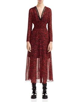 Maje - Ravila Lace-Detail Floral-Print Dress