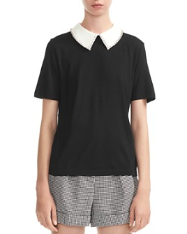 Maje - Tivola Removable Embellished-Collar Top