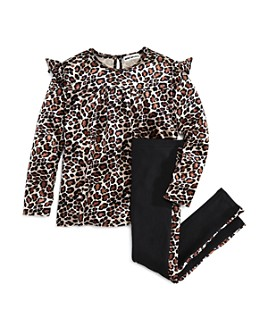 Mini Series - Girls' Leopard Print Top & Leopard-Trim Leggings, Little Kid - 100% Exclusive