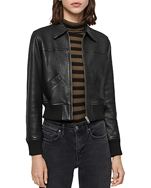 Allsaints Jackets PASCAO CROPPED LEATHER JACKET