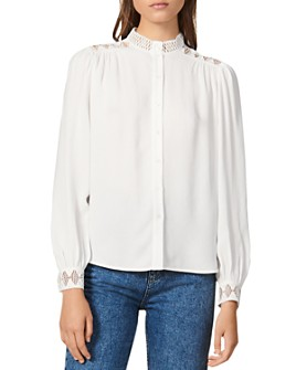 Sandro - Galoni Lace-Detail Crepe Top