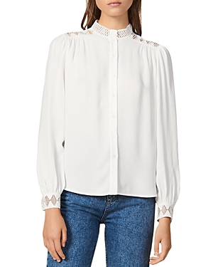 Sandro Tops GALONI LACE-DETAIL CREPE TOP
