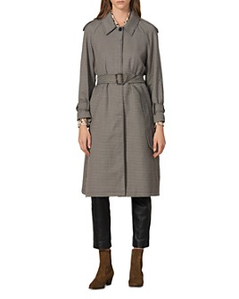 Sandro - Leon Check Trench Coat